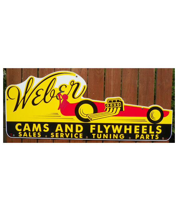1950s-STYLE-WEBER-CAMS-&-FLYWHEELS-SALES-SERVICE-TUNING-PARTS-DIE-CUT-PORCELAIN-DRAGSTER-SIGN