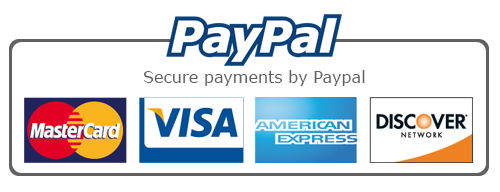 Secure payments by PayPal, MC, VISA, American Express, Discover