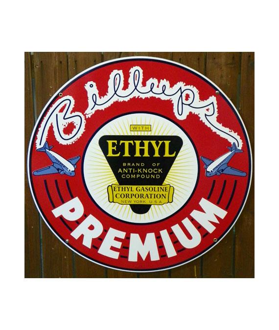 1930s-STYLE-BILLUPS-ETHYL-PREMIUM-GASOLINE-PORCELAIN-SIGN