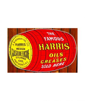 1930s-STYLE-HARRIS-OILS-GREASES-OIL-BARREL-DIE-CUT-PORCELAIN-SIGN