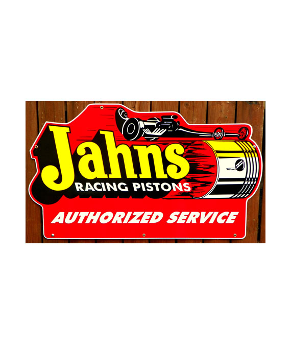 1950s-1960s-LARGE-DIE-CUT-JAHNS-RACING-PISTONS-SALES-and-SERVICE-PORCELAIN-SIGN