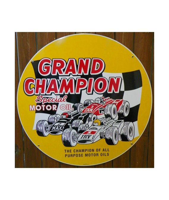 GRAND-CHAMPION-SPECIAL-MOTOR-OIL-PORCELAIN-SIGN-with-RACE-CARS