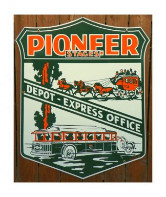 1920s-1930s-LARGE-DIE-CUT-PIONEER-STAGES-PORCELAIN-SIGN