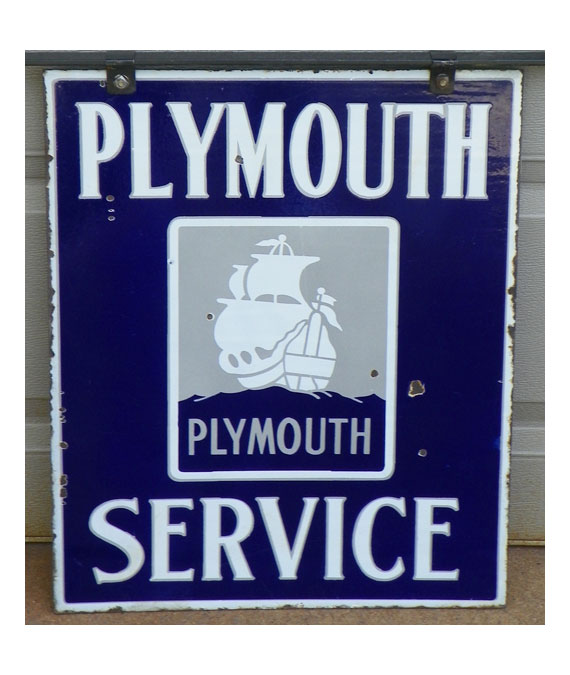 1930S-PLYMOUTH-SERVICE-DEALERSHIP-PORCELAIN-Double-Side-SIGN