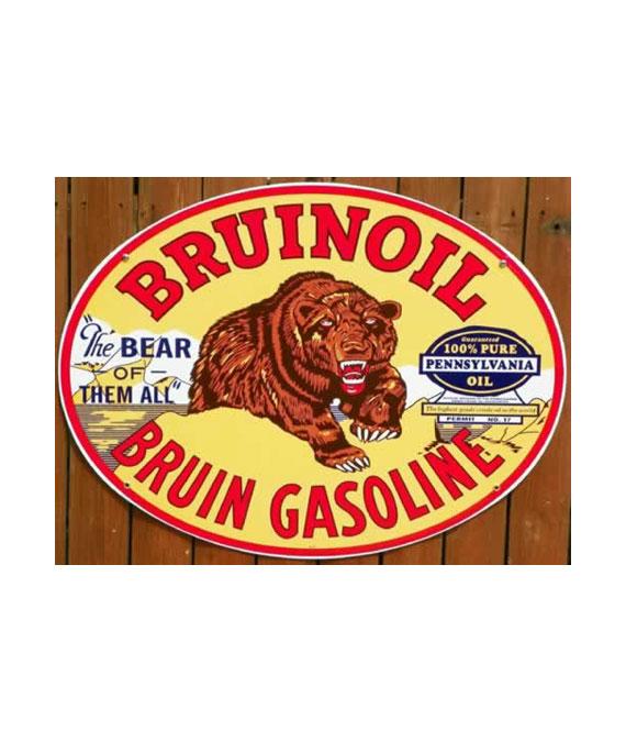 1930S-STYLE-BRUINOIL-BRUIN-GASOLINE-PORCELAIN-SIGN