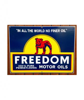 1930S-STYLE-FREEDOM-BULL-DOG-100-PURE-PENNSYLVANIA-MOTOR-OILS-PORCELAIN-SIGN