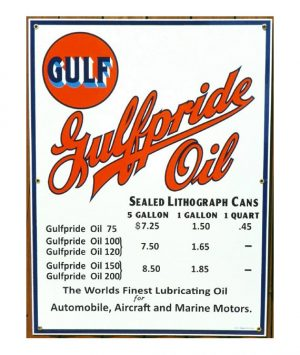 1930s-1940s-STYLE-GULFPRIDE-SEALED-CANS-MOTOR-OIL-PRICE-PORCELAIN-SIGN