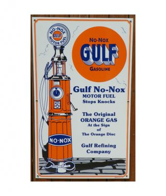 1930s-STYLE-GULF-NO-NOX-GASOLINE-PORCELAIN-SIGN