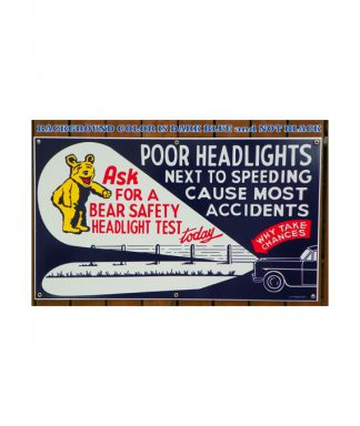 1940S-1950S-STYLE-LARGE-BEAR-SAFETY-HEADLIGHT-TEST-PORCELAIN-SIGN