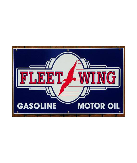 1940S-STYLE-FLEETWING-GASOLINE-MOTOR-OIL-PORCELAIN-SIGN