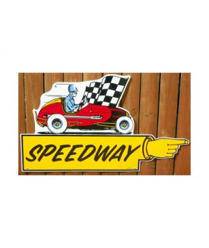 1940s-50s-STYLE-SPEEDWAY-FINGER-POINTER-DIRECTIONAL-PORCELAIN-SIGN