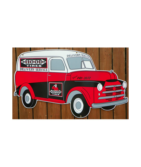 1948-STYLE-REPLICA-HOOD-TIRES-PANEL-DELIVERY-TRUCK-DIE-CUT-PORCELAIN-SIGN