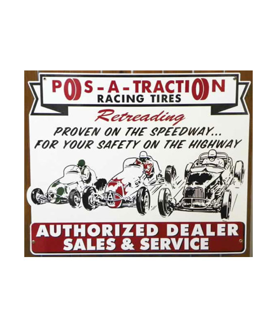 1950s-Style-RETRO-POS-A-TRACTION-RACING-TIRES-AUTHORIZED-DEALER-SALES-and-SERVICE-DIE-CUT-PORCELAIN-SIGN