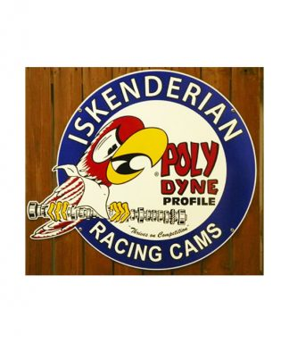 ISKENDERIAN-POLY-DYNE-RACING-CAMS-DIE-CUT-PORCELAIN-SIGN