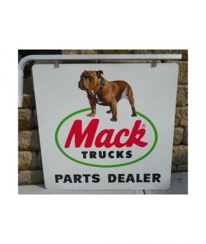 MACK-BULLDOG-TRUCK-PARTS-DEALER-SIGN-with-ORIGINAL-HANGER-SIGN