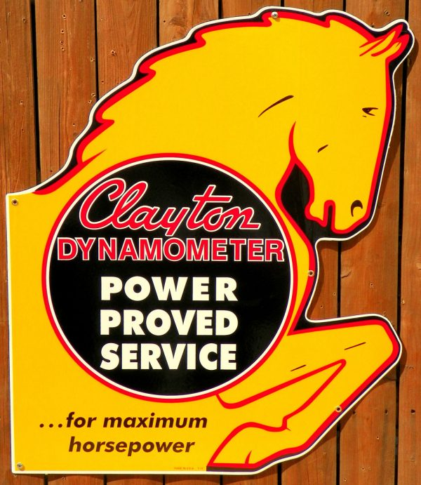 "1940's-1950's ""STYLE"" LARGE SIZE CLAYTON DYNAMOMETER MAXIMUM HORSEPOWER SERVICE PORCELAIN DIE-CUT SIGN 1"