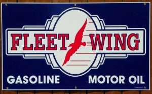 """1940's """"STYLE"""" FLEETWING GASOLINE-MOTOR OIL PORCELAIN SIGN 1"""