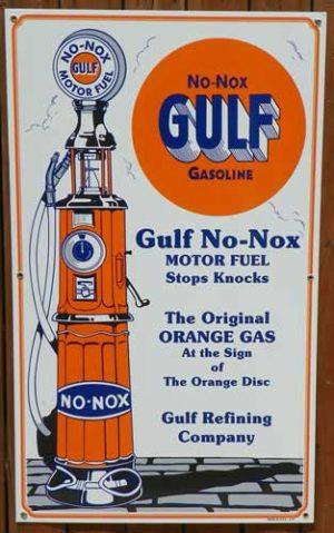 "LARGE SIZE 1930's ""STYLE"" T GULF NO-NOX GASOLINE "" PORCELAIN SIGN 1"