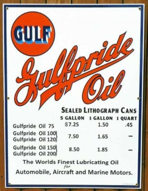 """1930's-1940's """"STYLE"""" GULFPRIDE """"SEALED CANS"""" MOTOR OIL PRICE PORCELAIN SIGN 1"""