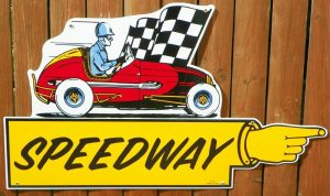 """1940's-50's """"STYLE"""" SPEEDWAY """"FINGER POINTER"""" DIRECTIONAL PORCELAIN SIGN 1"""