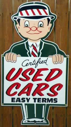 """1940's-1950's """"STYLE"""" CERTIFIED USED CARS """"DIE CUT"""" USED CAR LOT PORCELAIN SIGN 1"""