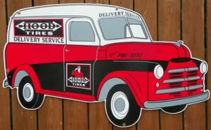 """1948 """"STYLE"""" REPLICA HOOD TIRES PANEL DELIVERY TRUCK """"DIE CUT"""" PORCELAIN SIGN 1"""