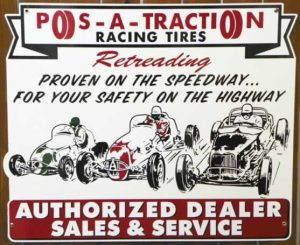 """1950's """"Style"""" RETRO POS-A-TRACTION RACING TIRES AUTHORIZED DEALER SALES and SERVICE """"DIE CUT"""" PORCELAIN SIGN 1"""