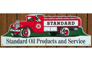 """LARGE SIZE 1930's """"STYLE"""" STANDARD RED CROWN GASOLINE TANKER TRUCK PORCELAIN """"DIECUT"""" SIGN 1"""