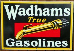 WADHAMS GASOLINES PORCELAIN SIGN 1