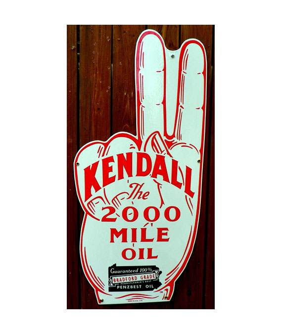1930s-STYLE-GIANT-SIZE-TWO-FINGER-KENDALL-The-200O-MILE-OIL-PORCELAIN-DIE-CUT-SIGN