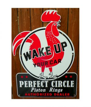 1940s-STYLE-PERFECT-CIRCLE-PISTON-RINGS-PORCELAIN-DIE-CUT-ROOSTER-SIGN
