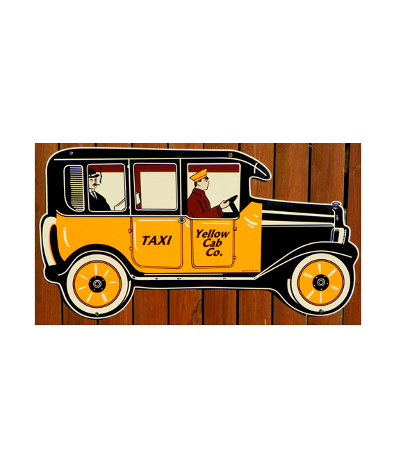 1920s–1930s-STYLE-HUGE-DIE-CUT-YELLOW-CAB-PORCELAIN-SIGN