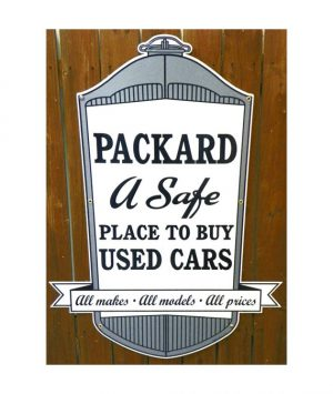 1930s-REPLICA-PACKARD-DEALERSHIP-RADIATOR-SHAPED-USED-CARS-PORCELAIN-SIGN