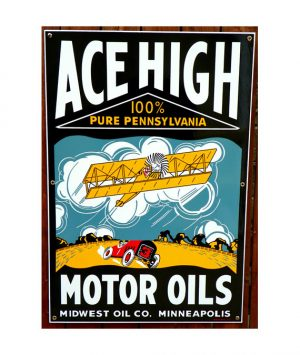 1930s-STYLE-ACE-HIGH-MOTOR-OIL-PORCELAIN-SIGN