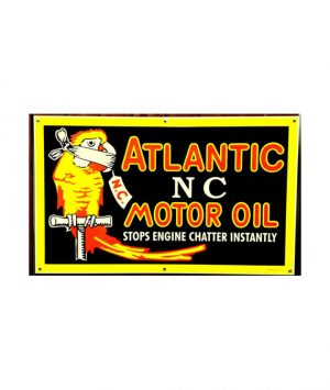 1930s-STYLE-ATLANTIC-NO-CHATTER-PARROT-MOTOR-OIL-PORCELAIN-SIGN