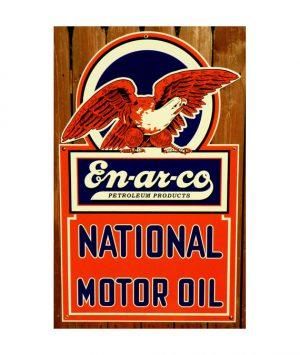 1930s-STYLE-EN-AR-CO-PETROLEUM-PRODUCTS-MOTOR-OIL-with-AMERICAN-BALD-EAGLE-DIE-CUT-PORCELAIN-SIGN