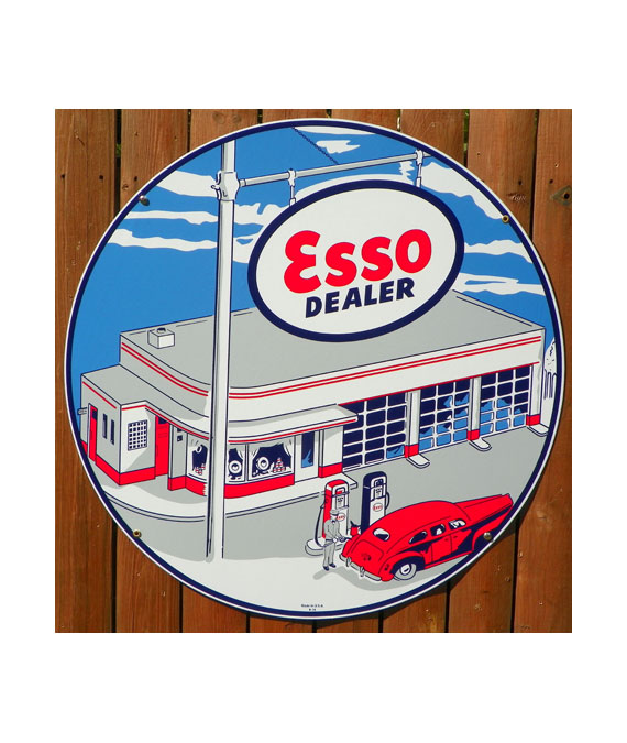 1948-STYLE-ESSO-GAS-STATION-PORCELAIN-SIGN-With-GAS-PUMPS