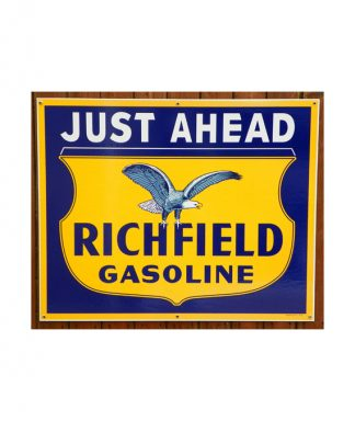 1930s-STYLE-JUST-AHEAD-RICHFIELD-GASOLINE-PORCELAIN-SIGN