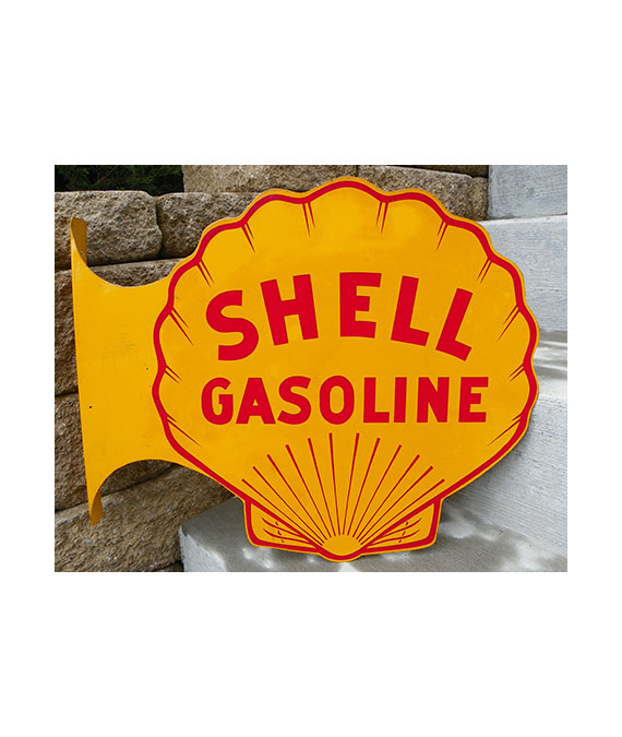 1940s-DOUBLE-SIDE-SHELL-GASOLINE-GAS-STATION-FLANGE-SIGN