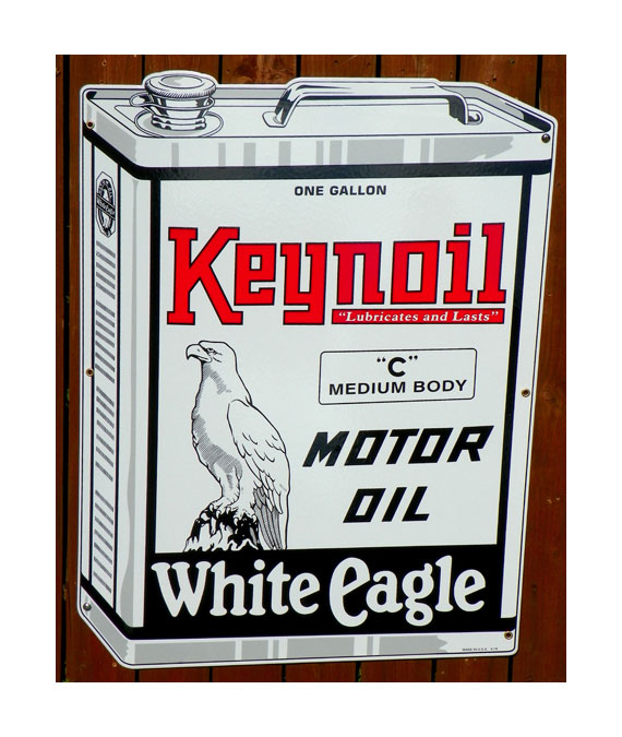 1930s-STYLE-KEYNOIL-WHITE-EAGLE-MOTOR-OIL-DIE-CUT-1-GALLON-CAN-SHAPED-PORCELAIN-SIGN