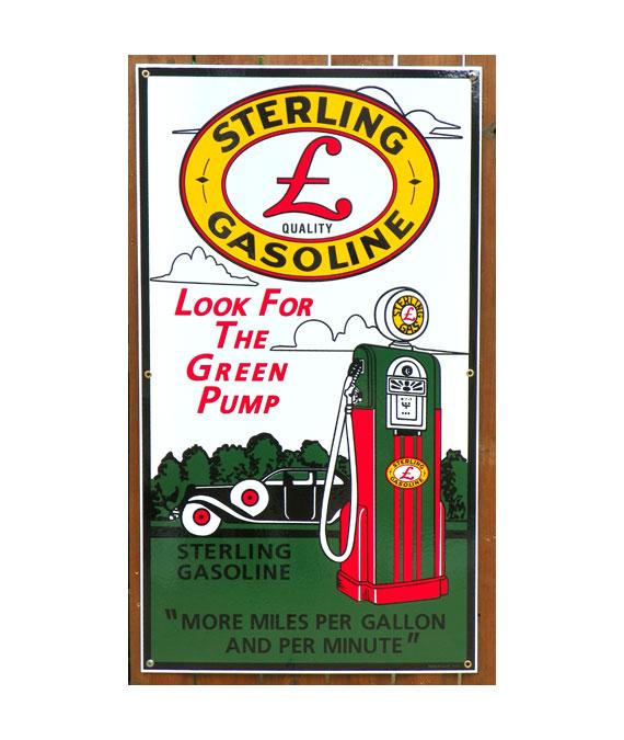 1940-STERLING-GASOLINE-WAYNE-60-GAS-PUMP-PORCELAIN-SIGN