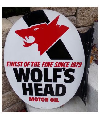 WOLF'S-HEAD-MOTOR-OIL-DOUBLE-FACE-FLANGE-GAS-STATION-SIGN