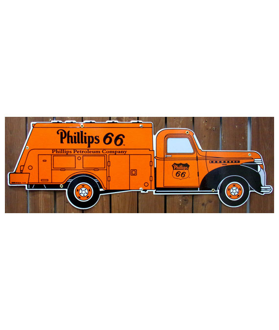 1940s-PHILLIPS-66-ARTWORK-PHILLIPS-66-GASOLINE-TANKER-TRUCK-DIECUT-PORCELAIN-SIGN