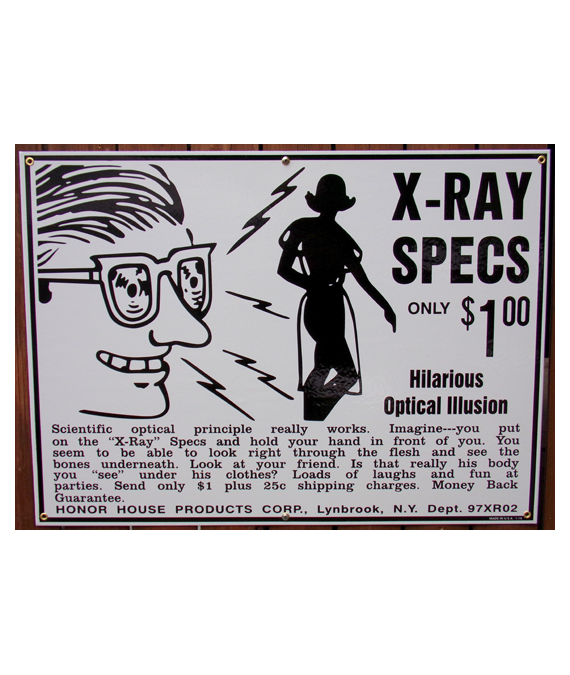 1950s-60s-COMIC-BOOK-ARTWORK-X-RAY-SPECS-PORCELAIN-SIGN