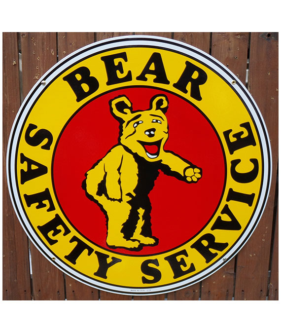 1940s-1950s-BEAR-SAFETY-SERVICE-PORCELAIN-SIGN