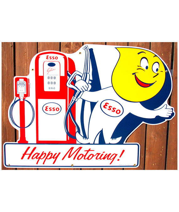 1950s-ERA-ESSO-OIL-DROP-BOY-GAS-PUMP-AND-AIR-METER-DIECUT-PORCELAIN-SIGN