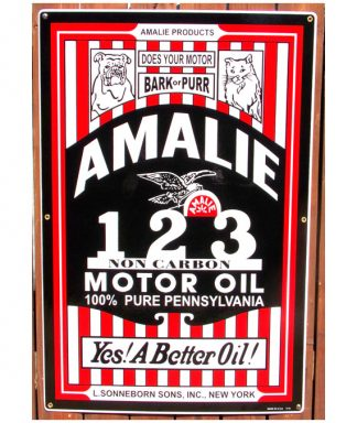 1920s-1930s-AMALIE-123-BARK-or-PURR-MOTOR-OIL-PORCELAIN-SIGN