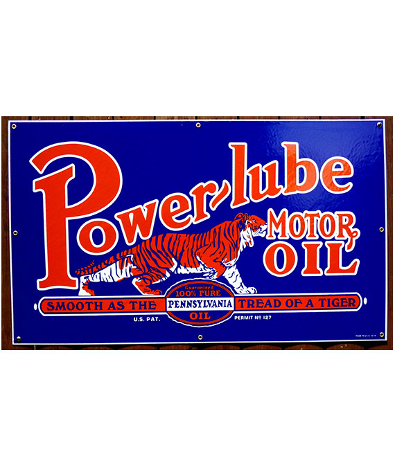 1930s-POWERLUBE-MOTOR-OIL-with-TIGER-PORCELAIN-SIGN