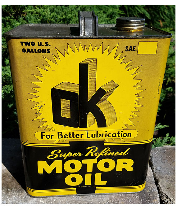 1940s-1950s-OK-MOTOR-OIL-2-GALLON-GAS-STATION-OIL-CAN-EXCELLENT-COLORS