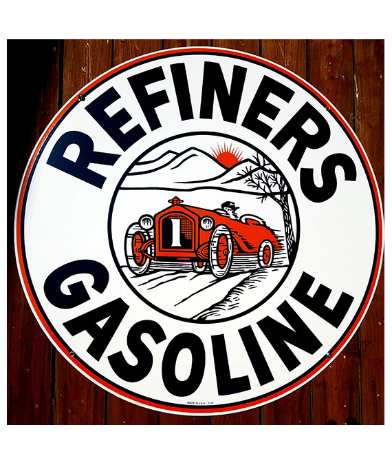 1920s-30s-ARTWORK-REFINERS-GASOLINE-PORCELAIN-SIGN-WITH-EARLY-RACE-CAR